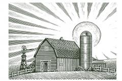 Farm Barn Woodcut