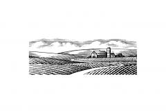 Farm Scene Woodcut