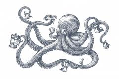 Octopus Woodcut