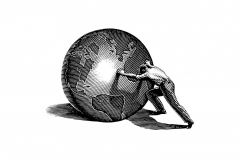 ©Man Pushing Globe-b&w -S. Noble