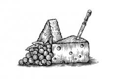 Cheeses-Woodcut