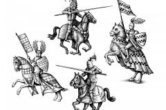 Knights Woodcut art
