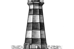 Lighthouse woodcut