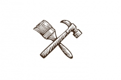 Paint Brush _amp_ Hammer Icon