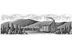 Log Cabin Woodcut
