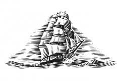 Tall-Ship-Woodcut