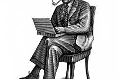 Einstein with Laptop bw
