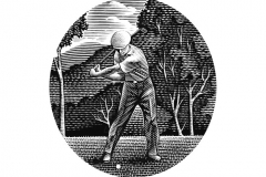 Golfer woodcut