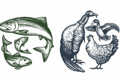 Fish & Poultry Woodcuts