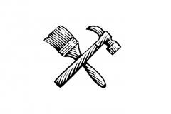 Paint Brush _amp_ Hammer Icon
