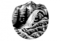 Waterfall_woodcut